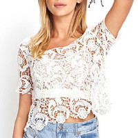 White Short Sleeve Crop Top