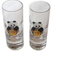 "Hard Rock Cafe SHANGHAI 4"" SHOT GLASS(2 Available) PANDA BEAR w/HRC Logo"