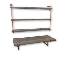 Industrial chic desk and industrial floating shelves