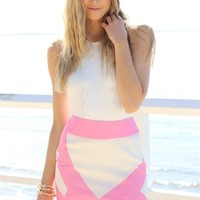 Jagged Skirt - Pink & White | SABO SKIRT