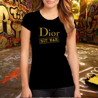 Dior Women Tshirt Ringer T-shirt Brand Fashion Logo Tee Cotton T Shirt, (Various Color Available)