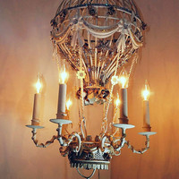 Hot air balloon chandelier lighting white embellished high end rhinestone vintage antique jewelry ornate light ooak anita spero design