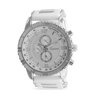 White Silicone Fashion Watch with Silver Tone Accents