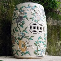 Vintage Famille White Tropical Floral Chinese Garden Stool
