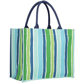 Rock Flower Paper Fashion Market Totes (Savannah Blue Stripe)