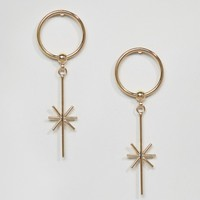 Limited Edition Open Circle Star Drop Earrings at asos.com