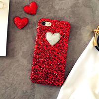 Red Rhinestone Heart Case For iPhone Models