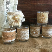 6 naturlap burlap and lace covered votive tea candles, country chic wedding decoration, bridal shower decor or home decor, vintage style
