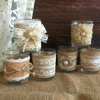 6 Naturlap Burlap And Lace Covered Votive Tea Candles