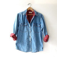 Vintage LINED denim shirt. Distressed & washed out button down shirt. Denim boyfriend shirt. LL Bean jean shirt.