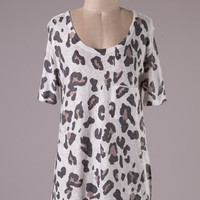 Short Sleeve Tunic Top - Brown Leopard Print