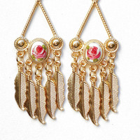 Gold Rose Feather Earrings Hand Painted Boho Victorian Jewelry FREE SHIPPING