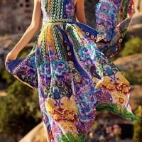 Yellow Floral Side Slit Tie Back Backless Fashion Maxi Dress