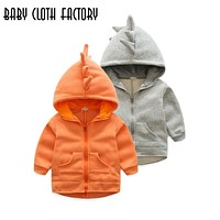 2017 Autumn Winter Baby Girls boys Infants Kids Cute Dinosaur Hooded Jacket Warm Fleece Thick Coats Outwears Gifts Roupas Casaco