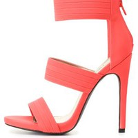 Neon Pleated Triple Band High Heels by Charlotte Russe