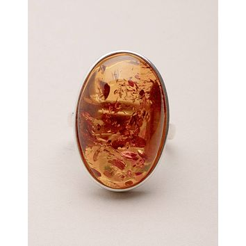 Amber Oval Ring - Adjustable