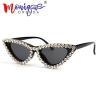 2018 Fashion Cat Eye Sunglasses Women Vintage Brand Small luxury Ladies Rhinestone Sun Glasses Female Oculos de sol UV400