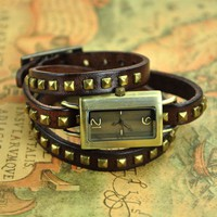 Square Watch With Spike Belt on Luulla