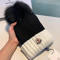 MONCLER New fashion embroidery letter women knit cap hat Black