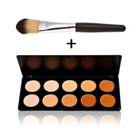 New 10 Color Concealer Palette Set with Foundation Brush Top Quality Gift + Free Shipping