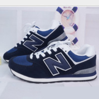 New balance abric is breathable n leisure sports shoes women's shoes Couples forrest gump students running Blue-black