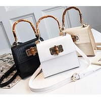 Fashion Crocodile Bamboo Handle Shoulder Handbag