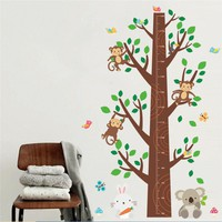 Forest Animals Monkey Tree Height Measure Wall Sticker For Kids Room Wall Decal Art Children Nursery Room Decor Poster Mural