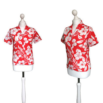 Vintage Chelsea Girl Shirt | Red And White Blouse | Vintage Shirt | 80's Top | 1980's Shirt | Floral Shirt