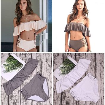 Strapless OFF SHOULDER High Waist Cross Straps Bikini Set Bundle (2 Bikini Set)
