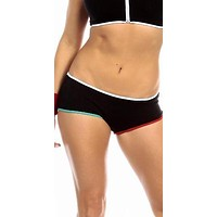 Sexy Neon Trim Low Rise Fourth Dimension Athletic Stretch Comfort Shorts in Multi Color Trim
