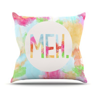 "Skye Zambrana ""Meh"" Rainbow Watercolor Outdoor Throw Pillow"