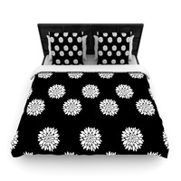 """Suzanne Carter """"Peony Rose"""" Black White Woven Duvet Cover"""