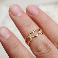 dainty gold open tiny  heart ring above knuckle ring wedding ring-modern minimalist jewelry-friendship ring