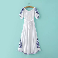 Short Sleeve Off-The-Shoulder Drawstring Waist Embroidered Maxi Dress