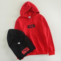 FILA fashion hit for couples with a small printed LOGO hoodie with long sleeves