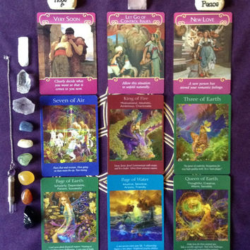 9 Card Angel Romance Reading, Relationship Reading, Love Reading, Looking for Love, accurate and in-depth Tarot Reading