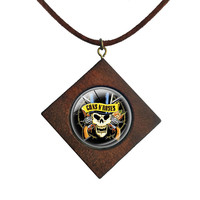 Rock And Roll Guns n' Roses Glass Round Wooden Square Necklace