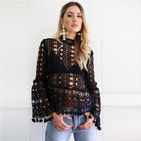 High Neck Floral Sheer Crochet Pom Pom Hem Blouse