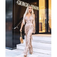 Riri Sequin Fringe Rose Gold Jumpsuit