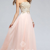 Long Strapless Faviana Prom Dress with Corset Back
