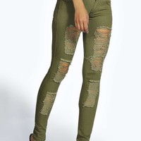 Jenni Low Rise Heavy Distressed Skinny Jeans