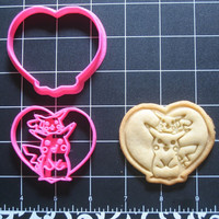 Pikachu Cookie Cutter Stamp Set Pokemon Inspired Heart Pink BPA FREE