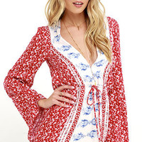 Heritage Red Print Long Sleeve Romper