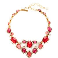 Gold-Plated Crystal and Faux-Pearl Necklace