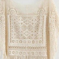 Loose bat sleeve shawls hollow-out sweater smock  from Fanewant