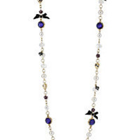 BetseyJohnson.com - CARVED FLOWER PEARL LONG NECKLACE PURPLE