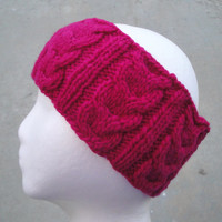 Knitted Ear Warmer Headband, Cabled, Bright Magenta Pink, Merino Wool, Women & Teen Girls