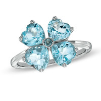 Heart-Shaped Blue Topaz Clover Ring in Sterling Silver - Size 7 - View All Rings - Zales