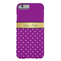Gold Monogram On Violet Purple & White Polka Dots Barely There iPhone 6 Case