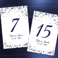 DIY Printable Wedding Table Number Template | Editable MS Word file | 4 x 6 | Instant Download | Winter Royal Navy Blue New Years Sparkles